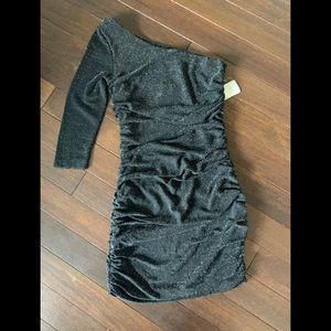 Black one shoulder sparkly dress NWT